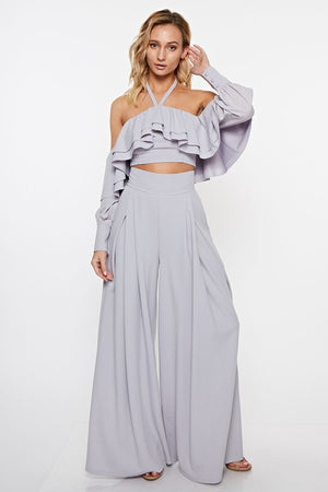 Ruffled Cropped Top and Pant Set