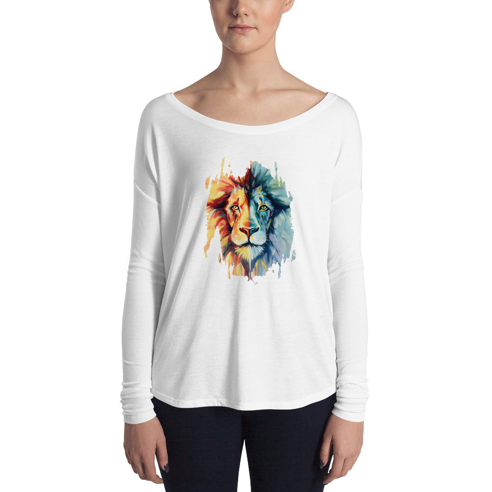 Lion Women's Flowy Long Sleeve Tee with 2x1 Sleeves