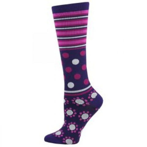 Abstract Dot Fashion Compression Sock - Purple