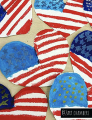 paper hearts with American flag