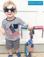 little boy on fourth of July