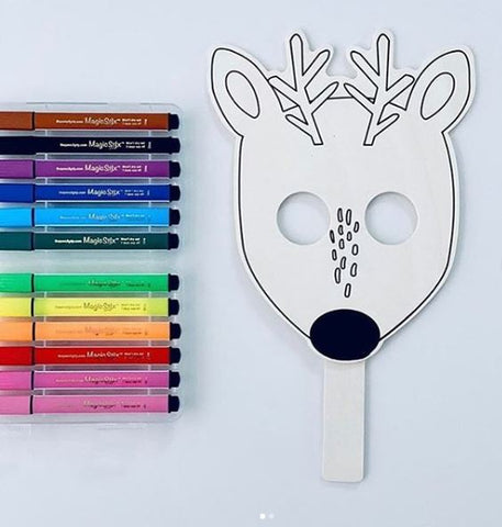 magic stix markers and reindeer mask