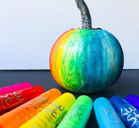 rainbow painted pumpkin