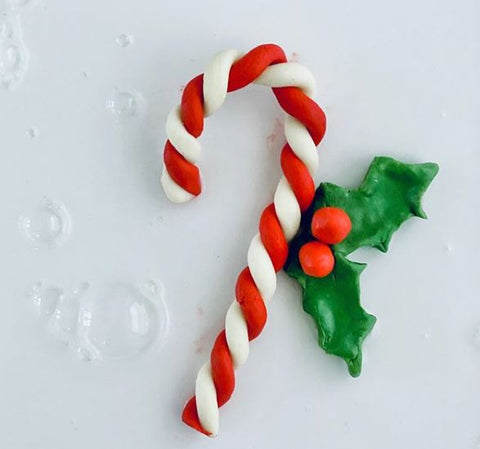 candy cane made from clay