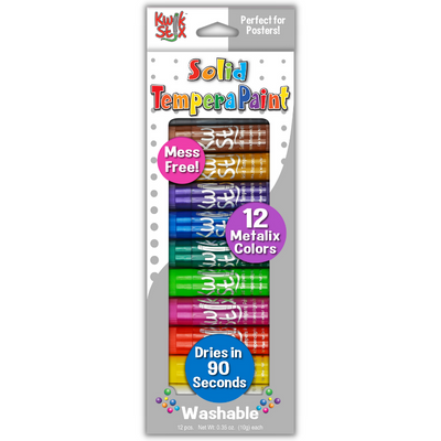 Kwik Stix Solid Tempera Paint Sticks, Set of 12 Metallic Colors