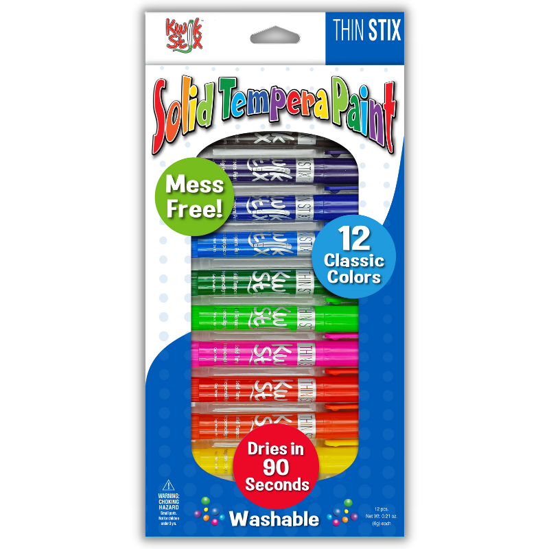 Thin Stix Solid Tempera Paint Sticks, Set of 12 Classic Colors