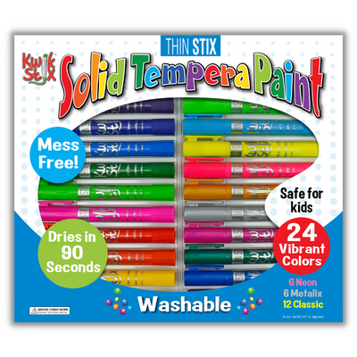 24 pack solid tempera paint sticks thin stix