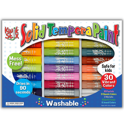 30 pack washable solid tempera paint sticks kwik stix
