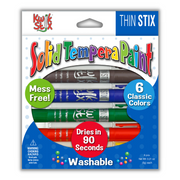 Thin Stix Solid Tempera Paint Sticks, Set of 6 Classic Colors