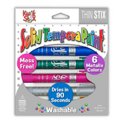 6 pack metallic thin stix solid tempera paint pens