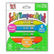 Thin Stix Solid Tempera Paint Sticks, Set of 6 Neon Colors