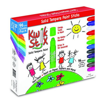 Kwik Stix Solid Tempera Paint Sticks, Class Pack Set of 96 Classic Colors