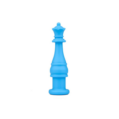 blue chess piece shaped silicone chewable pencil topper