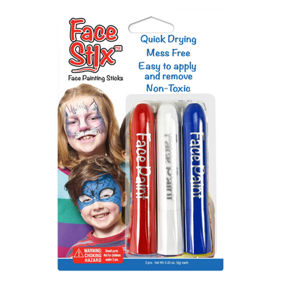face paint sticks in red, white and blue colors