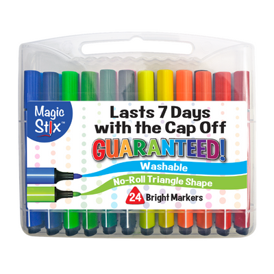Magic Stix 24 Pack Washable Markers No Dry Out