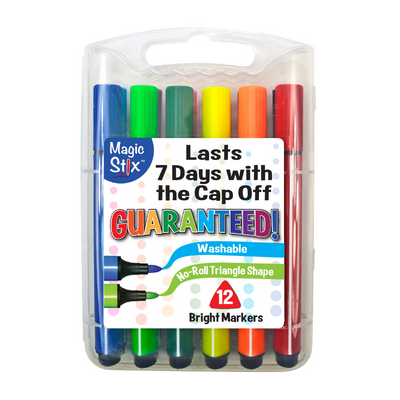 Magic Stix 12 Pack Washable Markers No Dry Out