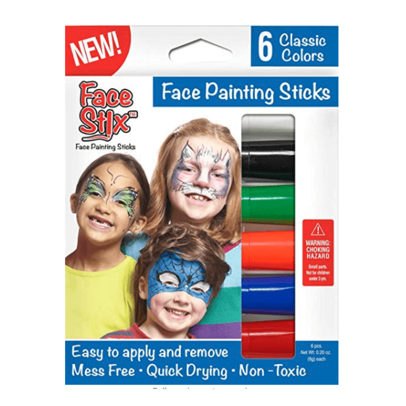Face Paint Stix, Set of 6 Classic Colors; white, black, green, orange, blue, red Quick Drying, Mess Free, Easy to Apply and Remove, Non Toxic
