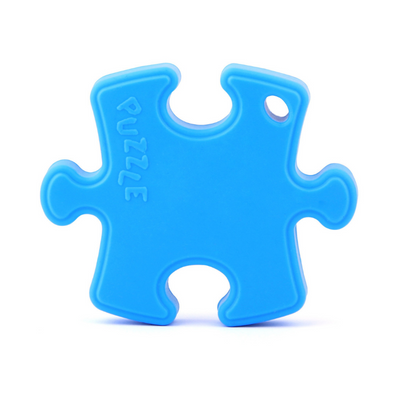 silicone puzzle piece blue teether