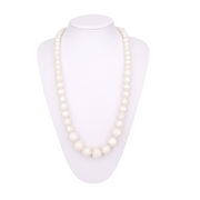 silicone white round beaded teething necklace