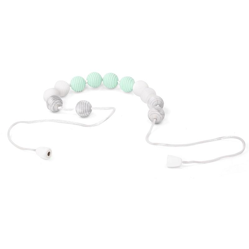 silicone teething necklace with white marble and aqua ripple beads