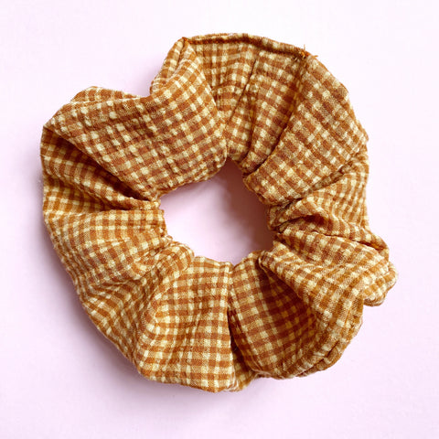 Hair Scrunchie - Tan Gingham