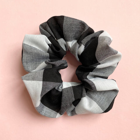 Hair Scrunchie - Black + White Gingham