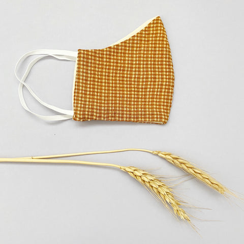 Cotton Reusable Face Mask - Gingham (tan)