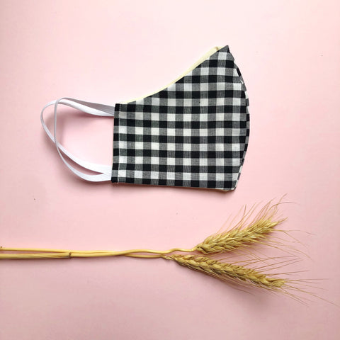 Cotton Reusable Face Mask - gingham (black)