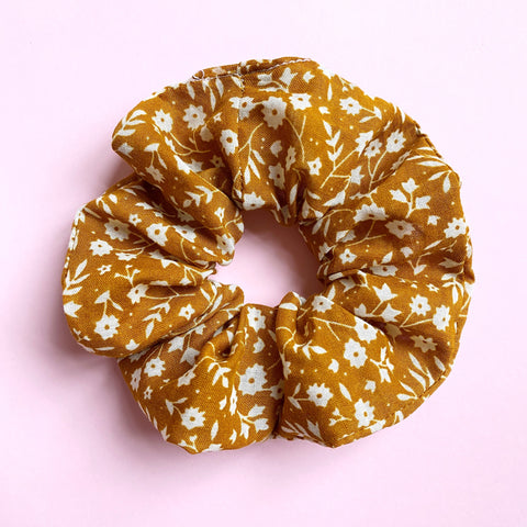 Hair Scrunchie - Mustard Floral