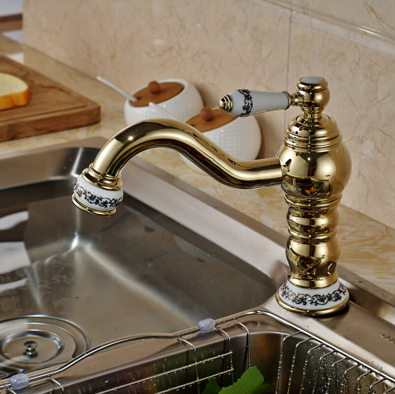 Agate Deck Mount Single Handle Single Hole Gold Finish Bathroom Faucet - eCasaMart