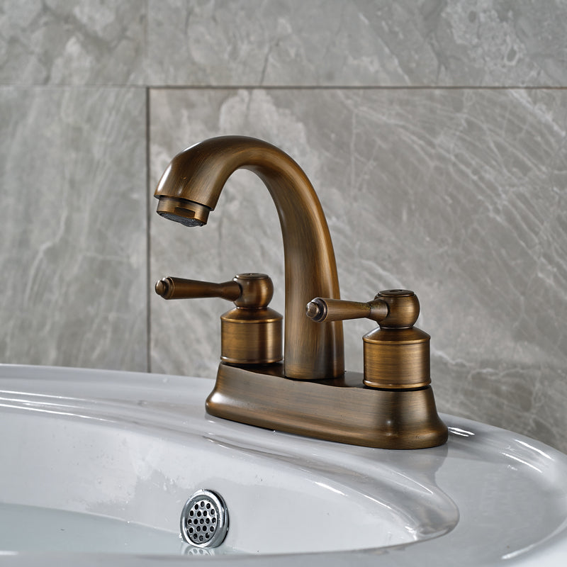 Akaiyan Deck Mount Antique Brass Two Hole bathroom faucet with Hot / Cold Water Mixer - eCasaMart