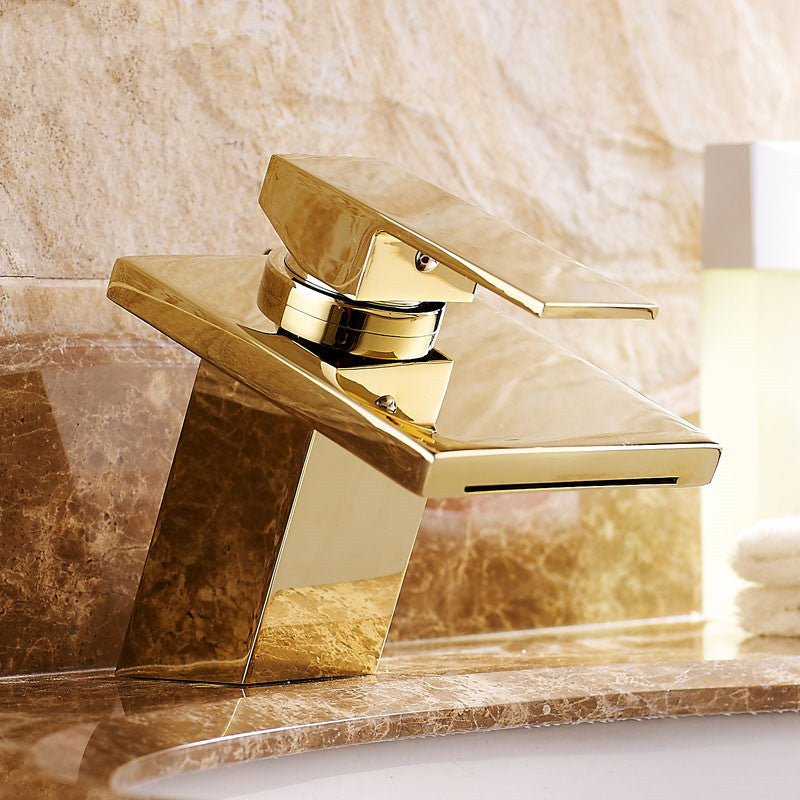 Akron Deck Mount Single Handle Single Hole Gold Finish Bathroom Faucet with Hot and Cold Mixer - eCasaMart