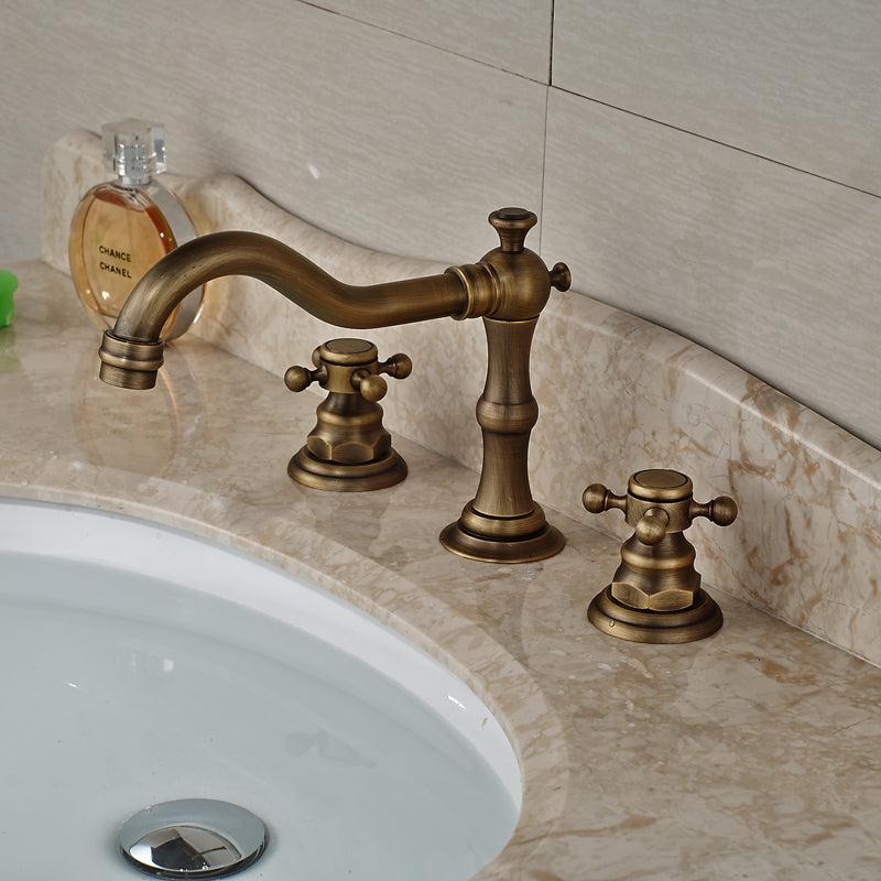 Atsina Deck Mount Dual Handle Antique Brass Widespread Bathroom Faucet with Hot / Cold Water Mixer - eCasaMart