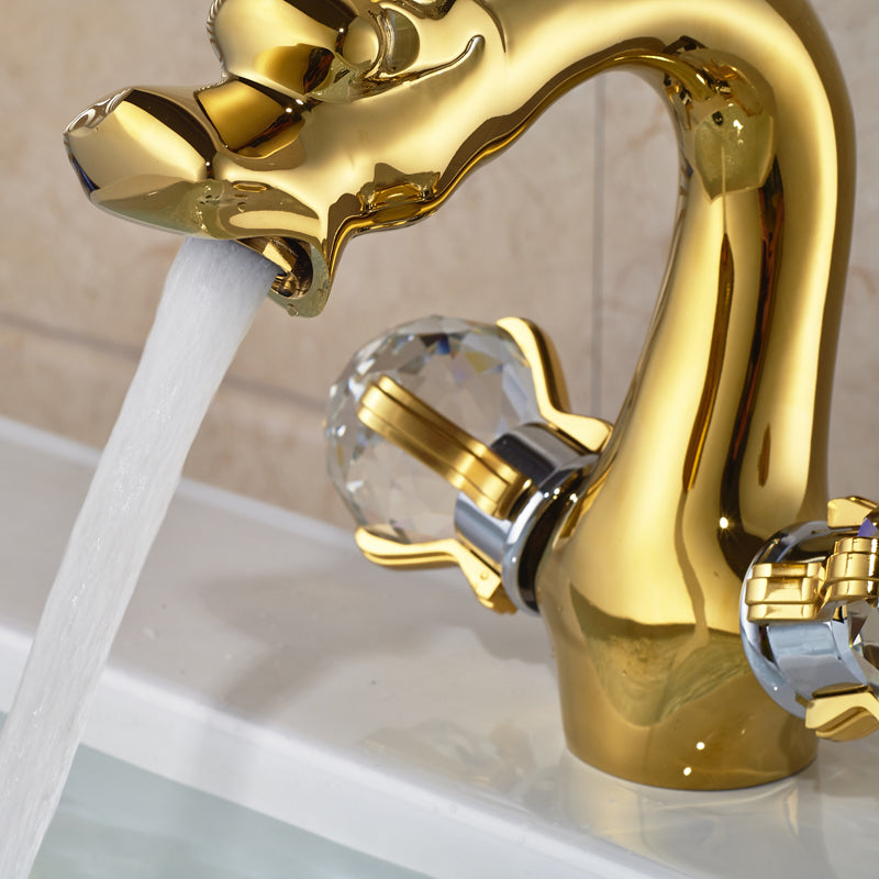 Baron Deck Mount Dual Handle Single Hole Gold Dragon Bathroom Faucet - eCasaMart