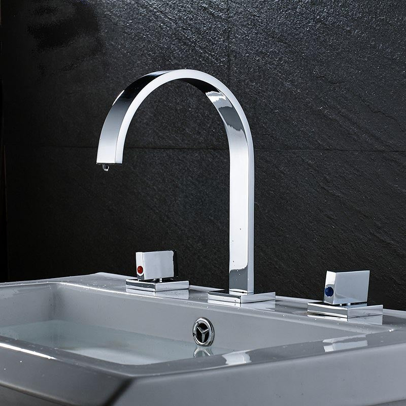 Conewago Deck Mount Dual Handle 3 Hole Chrome Bathroom Vanity Faucet - eCasaMart
