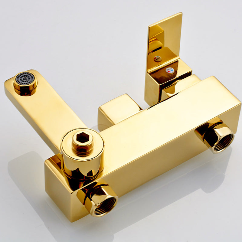 Florence Gold Finish Bathtub Faucet with Handheld Shower - eCasaMart