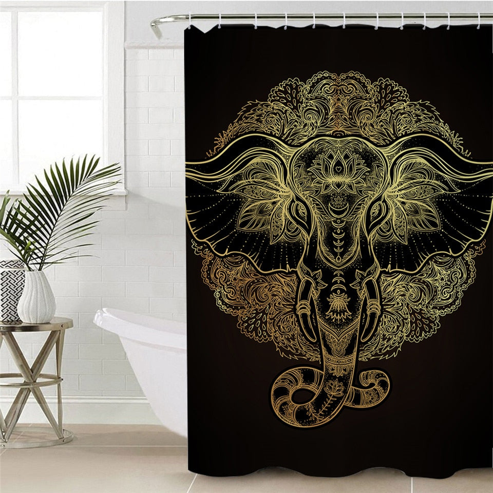 Gold Indian Elephant Shower Curtain - eCasaMart