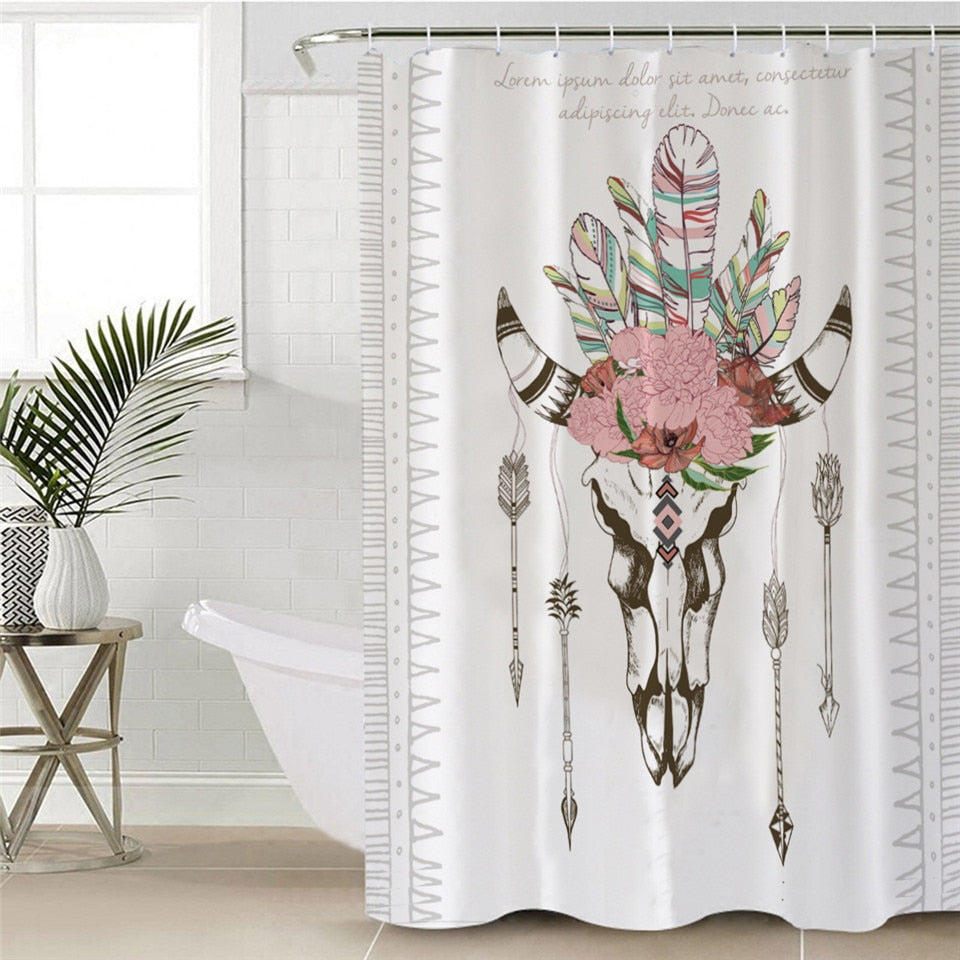 Waterproof Bull Head Skull Shower Curtain - eCasaMart