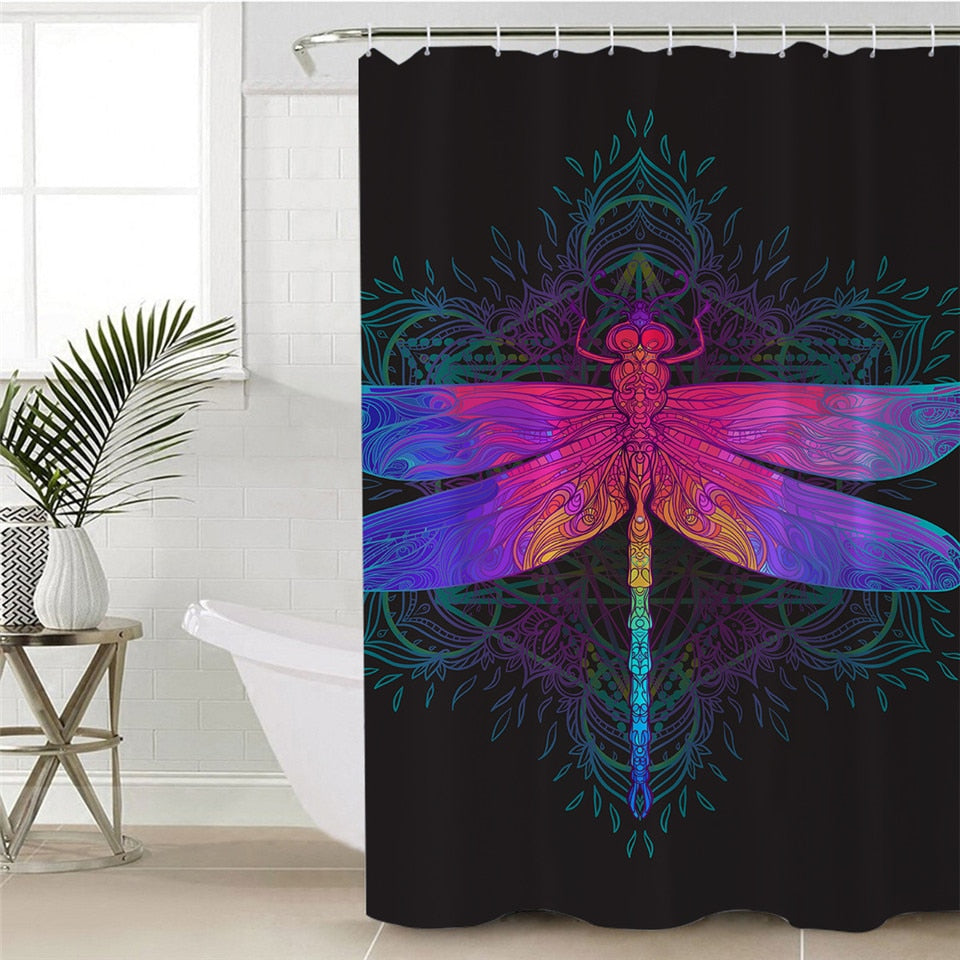 Dragonfly Shower Curtain with Mandala Pattern - eCasaMart