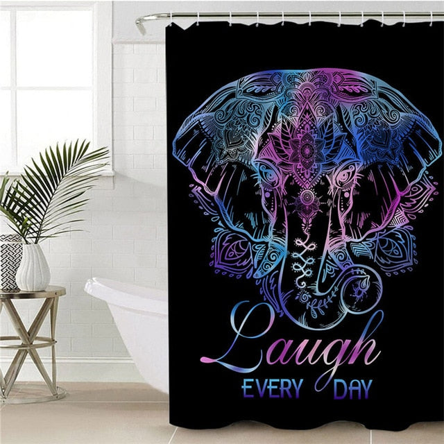 Lotus Flower Elephant Shower Curtain - eCasaMart