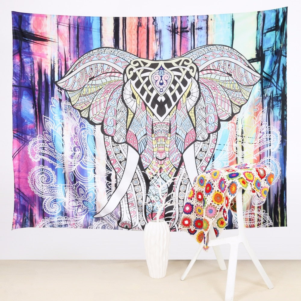 Animal Print Wall Hanging Elephant Tapestry - eCasaMart