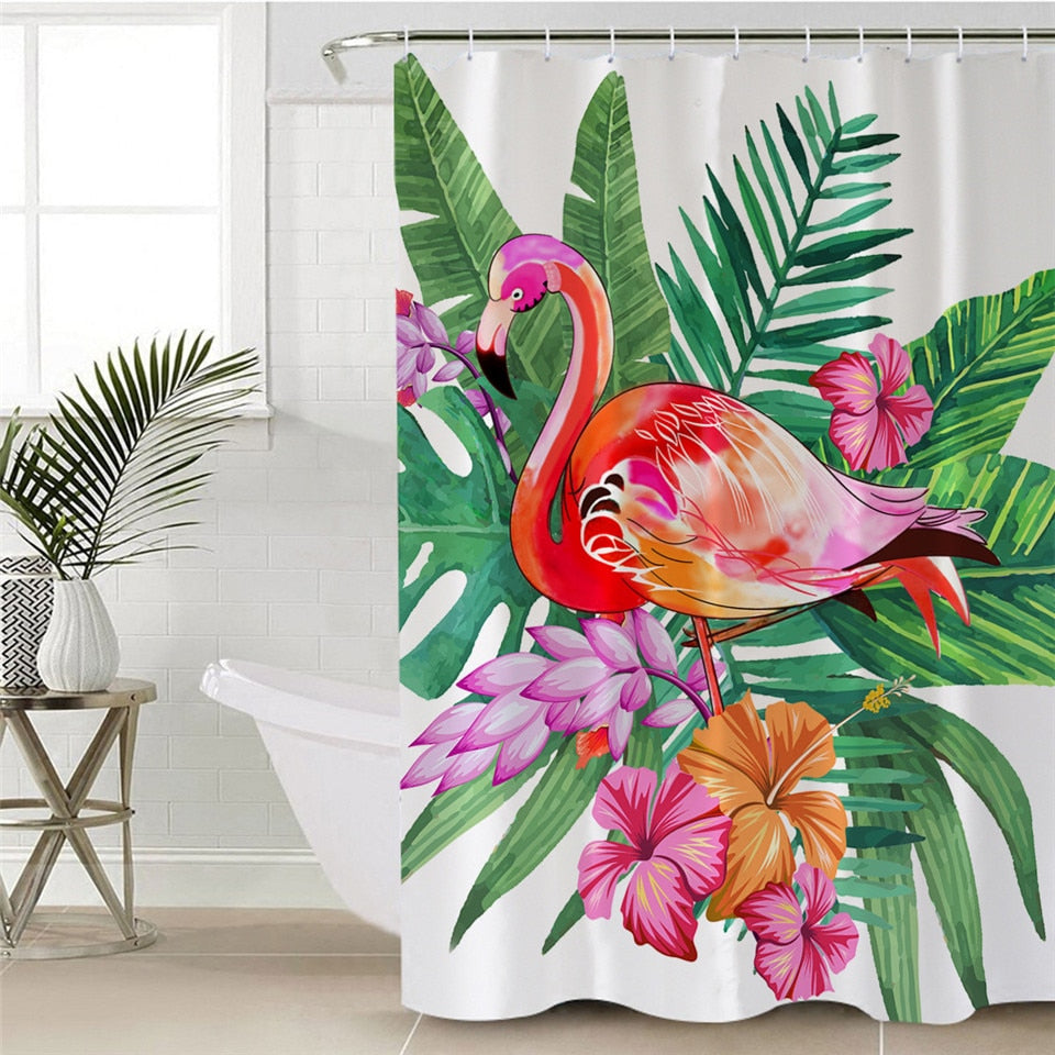 Tropical Shower Curtain with Flamingo and Leaves - eCasaMart