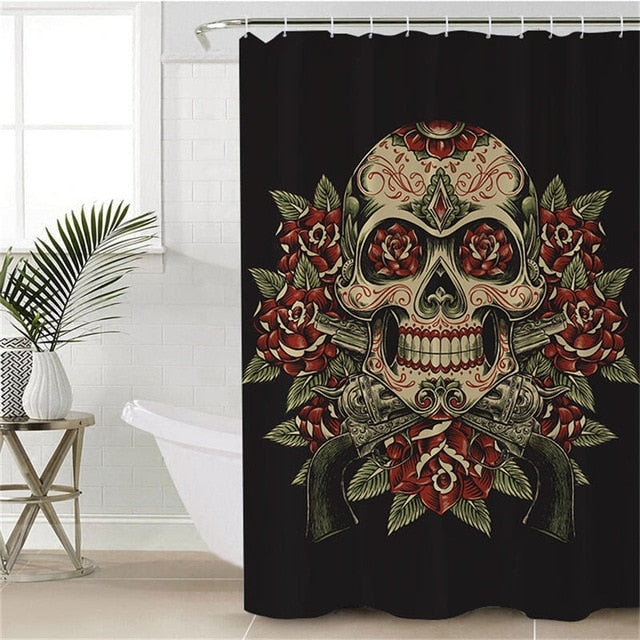 Floral Sugar Skull Shower Curtain - eCasaMart