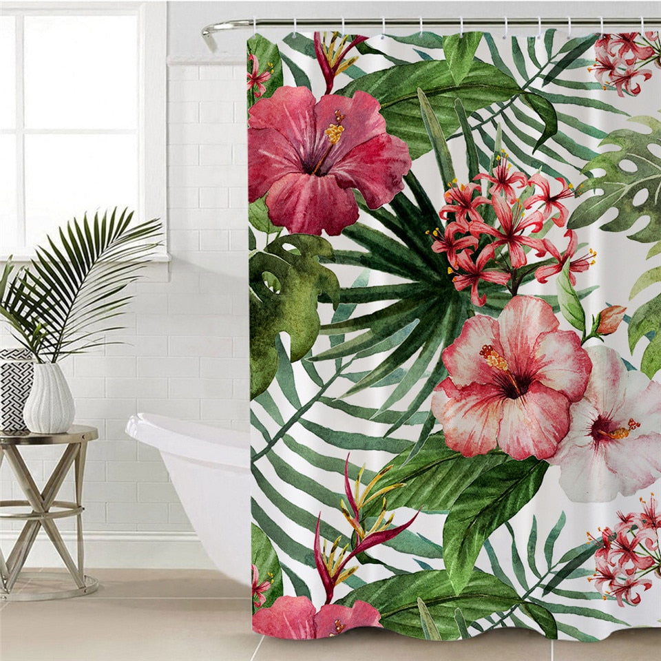 Floral Shower Curtain with Plants & Leave Pattern - eCasaMart