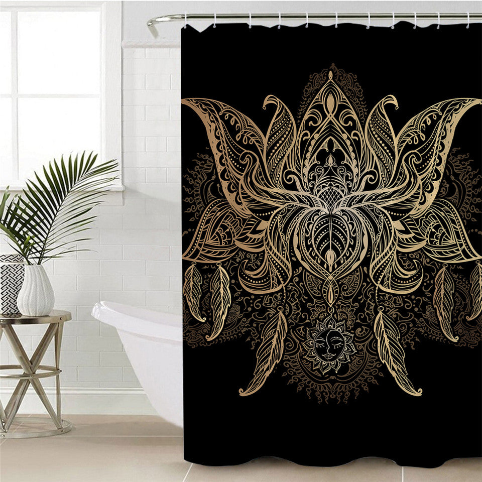 Lotus Shower Curtain with Bohemian Floral Patter - eCasaMart