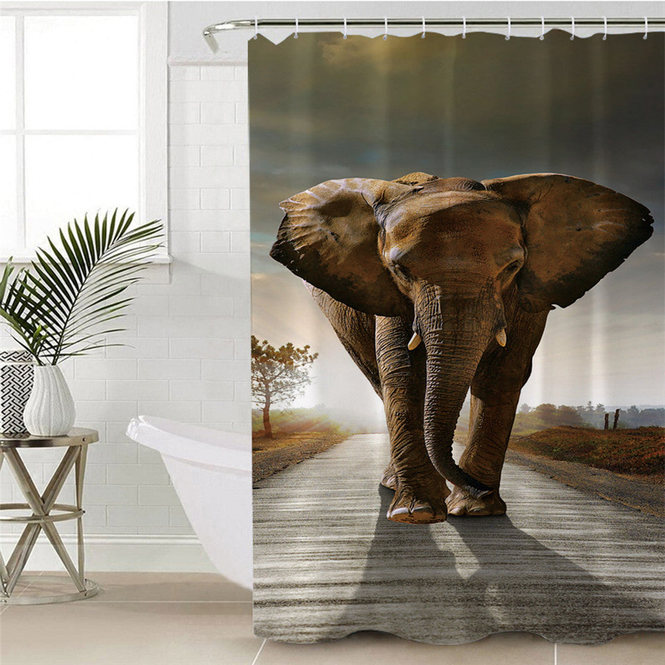 3D Indian Elephant Shower Curtain - eCasaMart