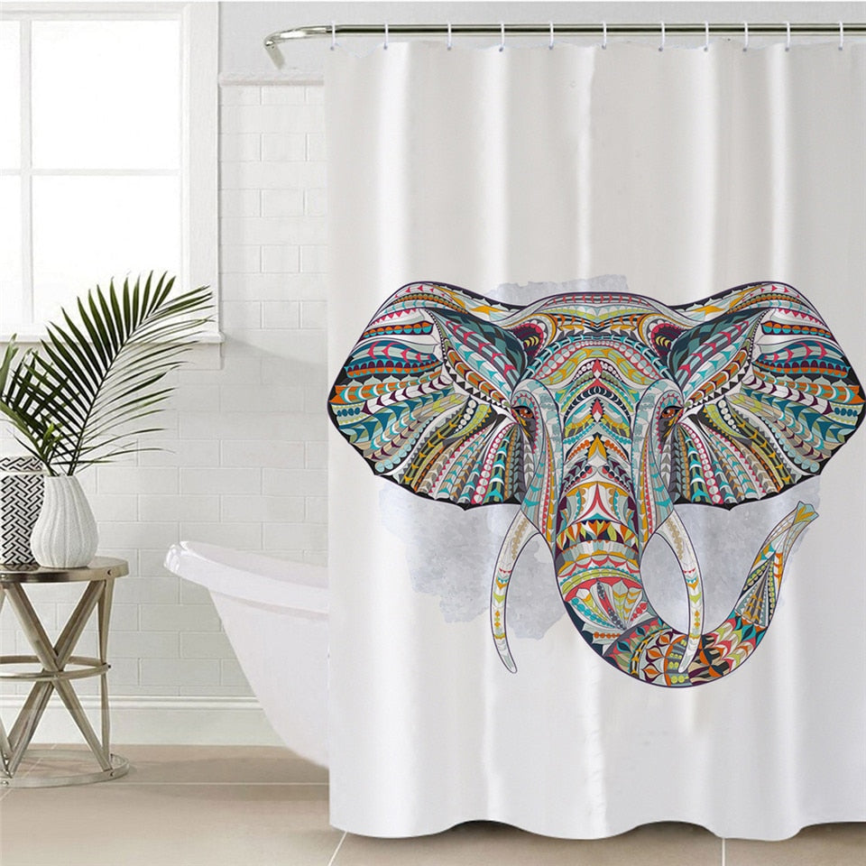 Waterproof Indian Elephant Shower Curtain - eCasaMart