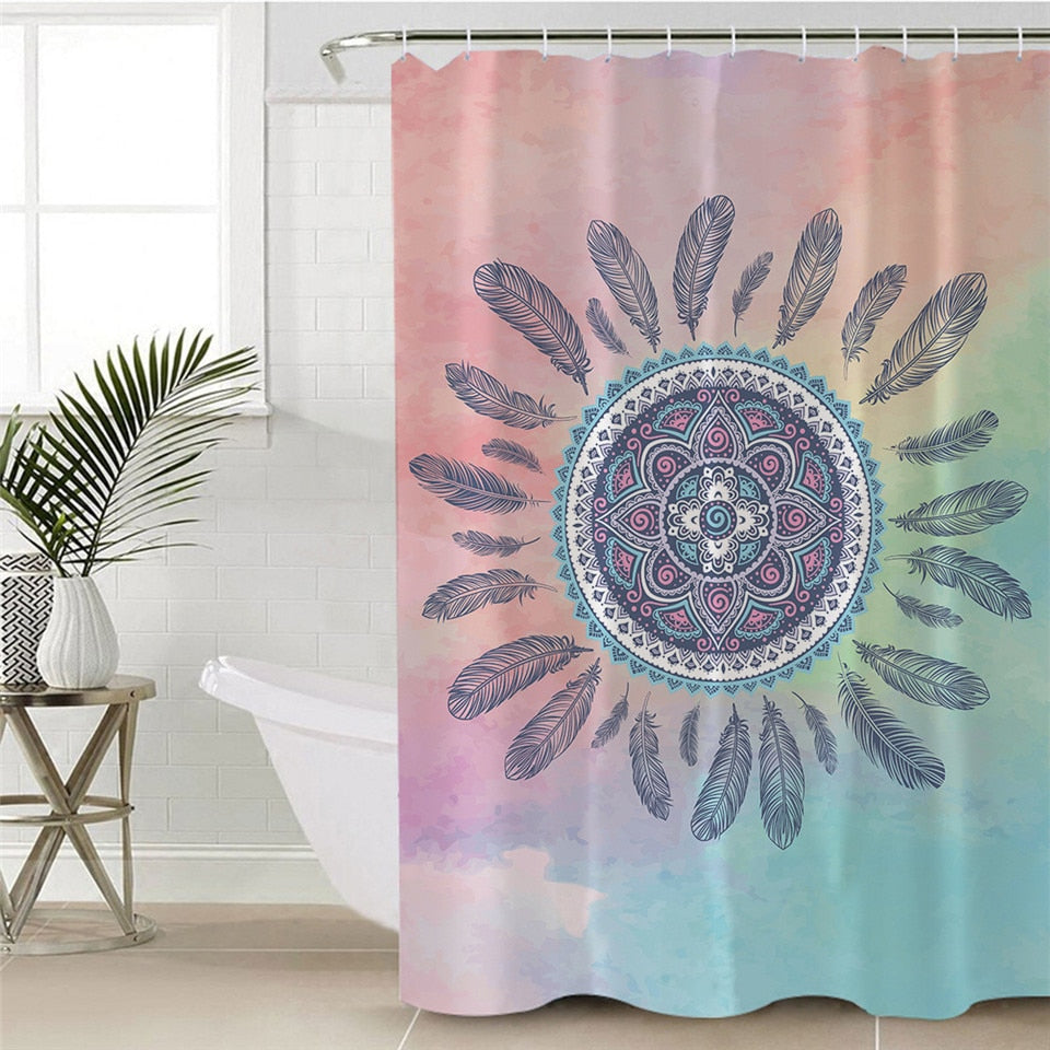 Mandala Shower Curtain with Bohemian Decor - eCasaMart