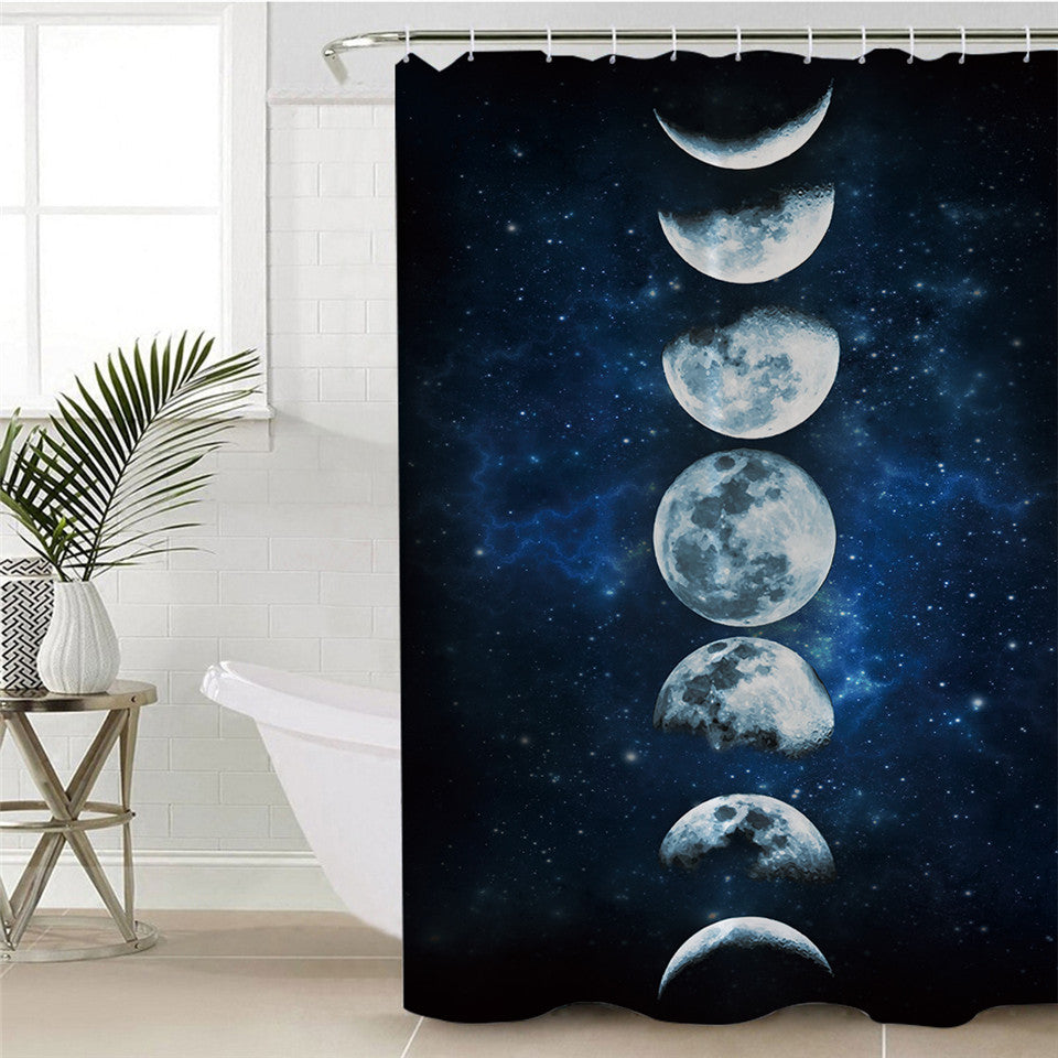 3D Galaxy Moon Eclipse Shower Curtain - eCasaMart