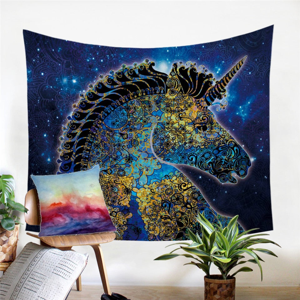 Blue Galaxy Unicorn Tapestry with Mandala Floral Design - eCasaMart